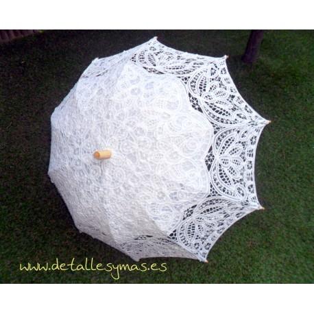 Sombrilla de encaje de novia. Modelo Leonor