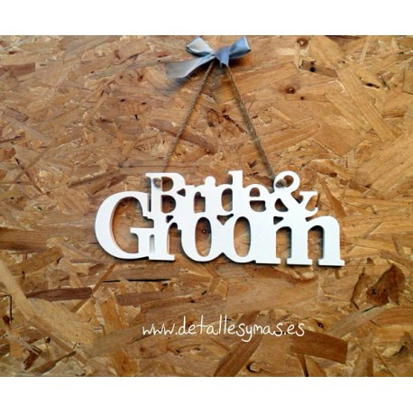 Placa de madera Bride and Groom