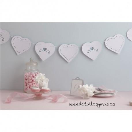 Banderines Corazón blanco