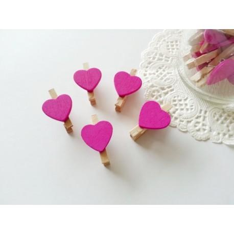Pinzas de madera corazón Fucsia