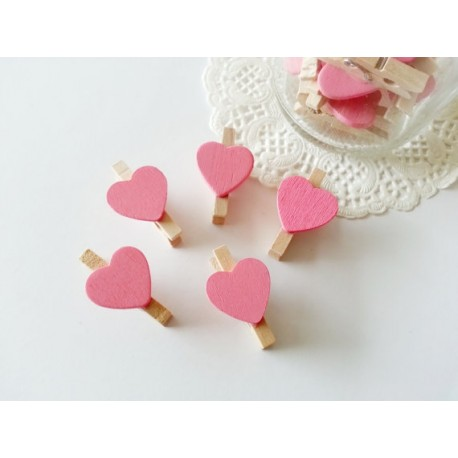 Pinzas de madera corazón Rosa