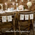 """Letreros para silla Mr and Mrs """" With Love"""""""