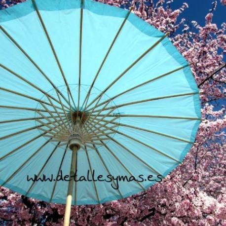 Parasol de papel Turquesa . 70 cms
