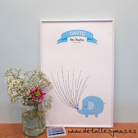 Cartel de huellas Elefante Azul