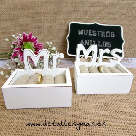 Cajas porta anillos Mr and Mrs