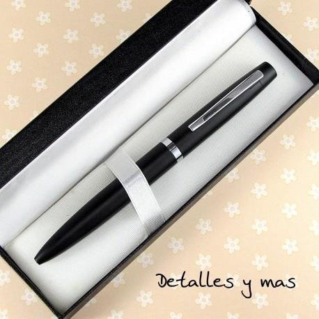 Bolígrafo negro en caja