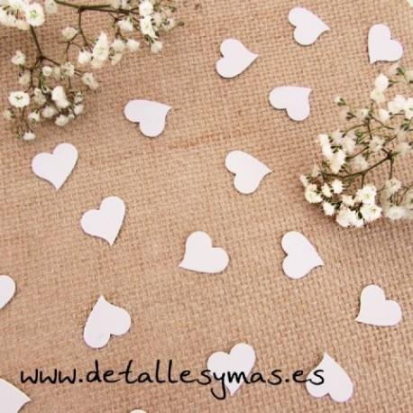 Confetti corazones blancos