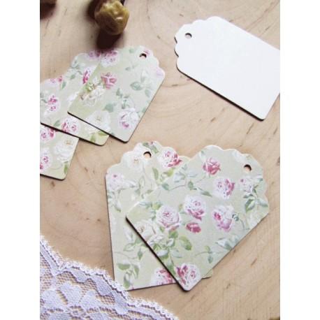 Tarjetas Vintage Flores verde .