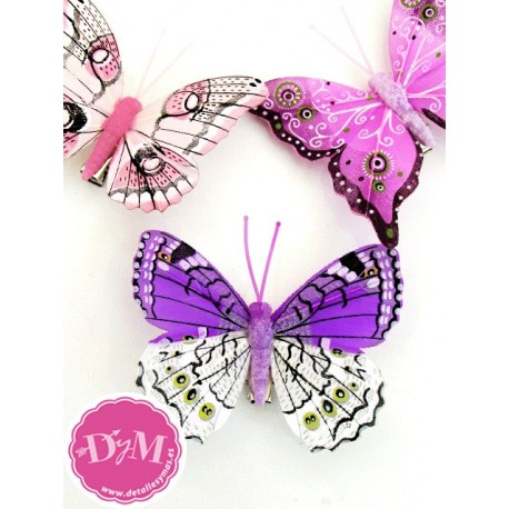 Mariposas Fantasía Moradas. Pack 10 ud