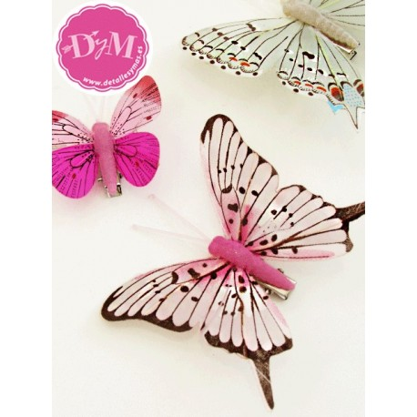 Mariposas Fantasía Rosas. Pack 10 ud