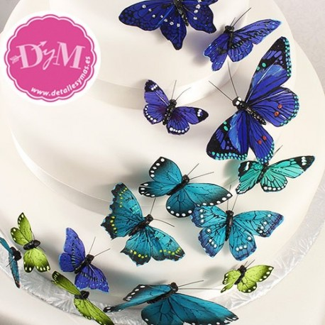 Mariposas de plumas decorativas. 24 ud.
