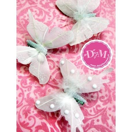 Set de 6 mariposas blancas pinza