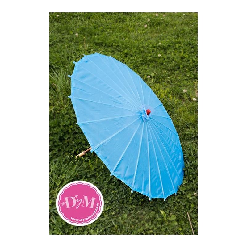 Parasol az l turquesa de tela for Tela para sombrillas