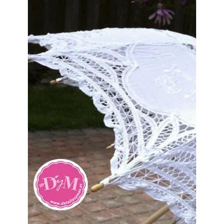 Parasol de novia de encaje blanco. Modelo Victoria