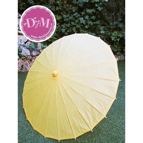 Parasol amarillo  de papel . 84 cms