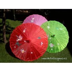 Parasol o sombrilla china de tela detalles regalos y for Tela para sombrillas