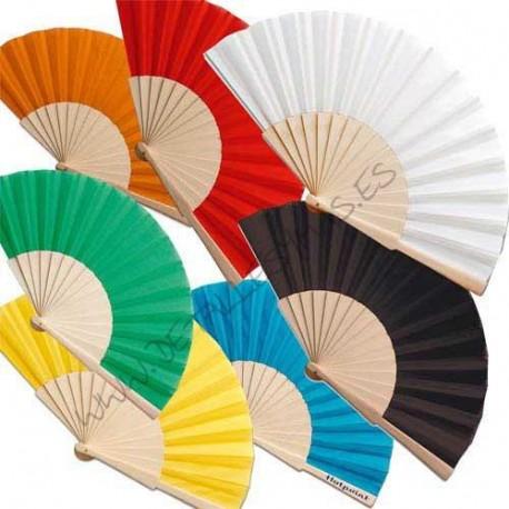 Abanico madera natural y tela colores for Abanico de colores