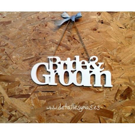 Placa de madera Bride and Groom
