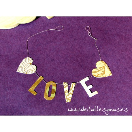 Guirnalda de papel LOVE Oro