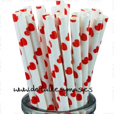 Pajitas de papel con corazones