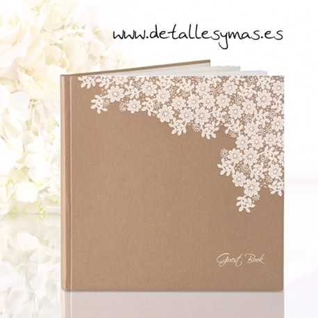 Libro para firmas Floral Kraft