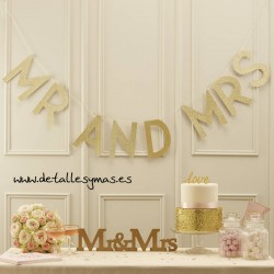 Letras Mr and Mrs Glitter