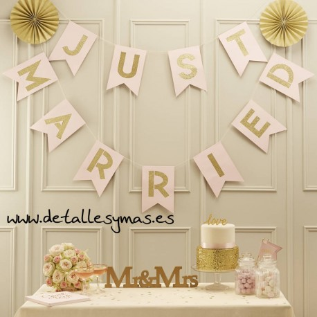 Banderin Just Married Rosa y Oro