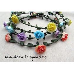 Corona de flores Rosas papel