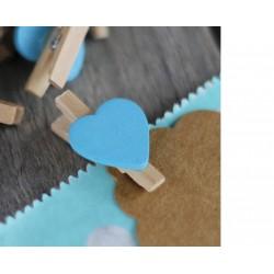 Pinzas de madera corazón Azúl