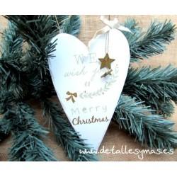 Corazón de madera navideño