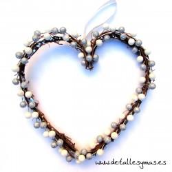 Corazón rústico Blanco y plata