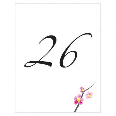 Tarjeta numeración de mesas. Modelo Blossom