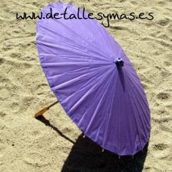 Parasol de papel morado. 70 cms