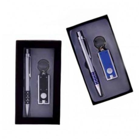 Set Bolígrafo + Llavero Linterna LED en caja de regalo