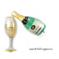 Globos Botella y copa de Champán