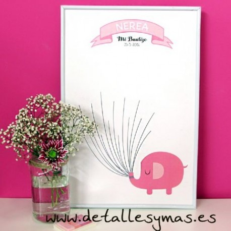 Cartel de huellas Elefante rosa