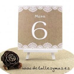 Números de mesas. Modelo Arpillera