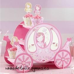 Soporte cupcakes Carruaje Princesa Rosa