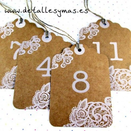 Números de mesa Kraft Tag
