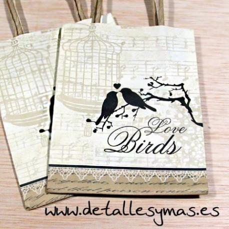 """Bolsas con asas """"Love Birds """""""