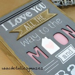 Placa de madera I love you ....