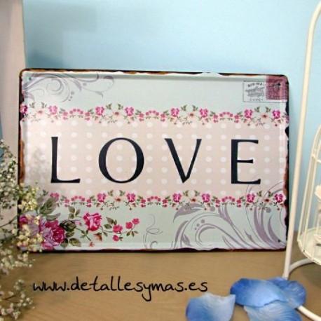 Placa Vintage LOVE