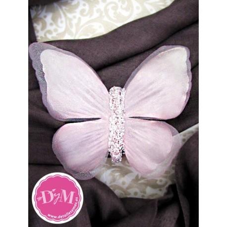 Mariposas de Rosa de raso . Pack de 2