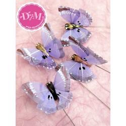Mariposas de pluma lila .Set de 3