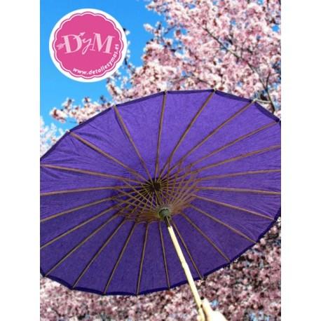 Parasol de papel morado. 80 cms