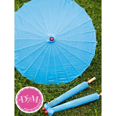 Sombrilla azul turquesa de tela