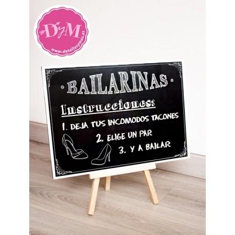Cartel Pizarra Bailarinas