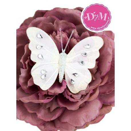Mariposa blanca de plumas Diamond