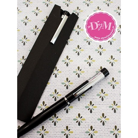 Bolígrafo metálico en funda