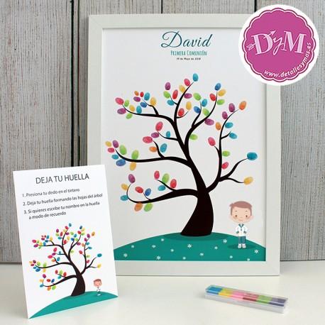 """Cartel de huellas Comunión """"David"""""""